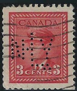 Perfin N20-NLY (New York Life, Toronto): Scott 251, 3c KGVI Carmine War, Pos. 1
