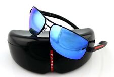 POLARIZED NEW Genuine PRADA Lifestyle Matte Black Blue Sunglasses SPS 54I DG02E0