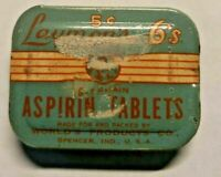 Vintage Laymon's 6's Aspirin Tablets Tin Worlds Products Co -Tablets still in it