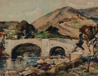 Cooke - Mid 20th Century Watercolour, Bridge and Mountains