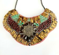 vintage embroidered beaded African tribal necklace embroidery handmade jewelry