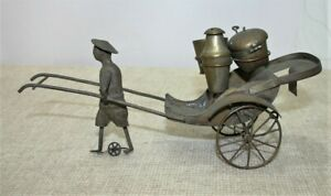 Vintage Brass Novelty Cruet Set - Oriental Rickshaw Design - Thames Hospice