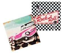 12 ROCK AND ROLL LUNCH NAPKINS 50'S 60'S PINK CADILLAC MICROPHONE CHECKERED & N