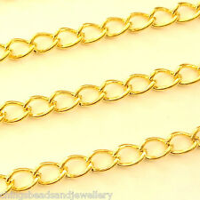 2M Gold Plated 4x6mm Continuous Curb Chain For Jewellery Making