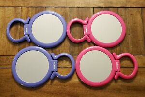 4 Conair Round Stand or Handheld Double Sided Mirrors Pink & Purple Pre-owned