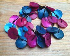 Vintage Style Shell Disc Bracelet/Retro/Pink & Blue/Hippy/Boho/Beach/Summer Look