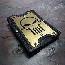 "FlexiWallet ""Copper Skull"". EDC Wallet Carbon Fiber Texture Money Clip."