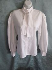 VTG 70's Levis Jacquard High Neck Blouse Vintage Size 18 Puffy Sleeve Pussy Bow