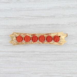 Vintage Coral Bead Brooch 18k Yellow Gold Bar Pin