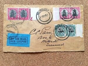 SWA 1931 AIRMAIL COVER WINDHOEK TO MILLSITE TRANSVAAL WITH 3 STAMP PAIRS (1)