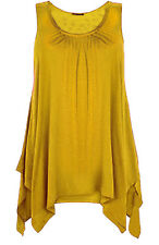 WOMENS HANKY HEM LADIES SLEEVELESS SCOOP NECK JERSEY LONG TUNIC VEST TOP 8-26