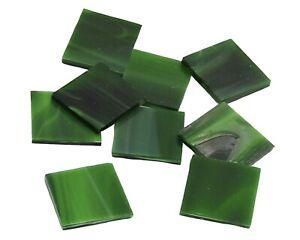 Dark Green Wispy Triangles | Hand Cut Mosaic Glass Tile Shapes
