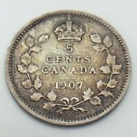 1907 Canada Small 5 Five Cents Silver Circulated Canadian Coin E780