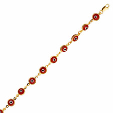 14K Solid Yellow Gold Red Evil Eye Bracelet - Good Luck Charm Chain Link Women
