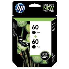 New Genuine HP 60 Original Black Ink Cartridges Twin 2 Pack OEM Sealed Exp 10/22