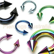 Titanium Anodized Spike Horse Shoe Bar Ring  Body Piercing CHOOSE SINGLE OR PAIR