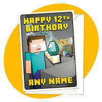 Herobrine Diamond - PERSONALISED BIRTHDAY CARD - Minecraft personalized gamer