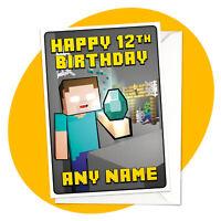 Herobrine Diamond - PERSONALISED BIRTHDAY CARD - Minecraft personalized gamer