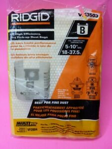 RIDGID Genuine High-Efficiency Dust Bags VF3503 5-10 Gal Shop-Vac VF2004 Fast Sh
