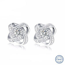 925 Sterling Silver earring CZ Cubic Zirconia clear crystal DLE122