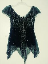 SCALA Beaded Sequin Top Black Silver Beads Sequins Cap Flutter Sleeves Sz Small
