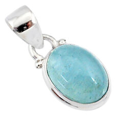 4.81cts Natural Blue Aquamarine 925 Sterling Silver Pendant Jewelry R78331