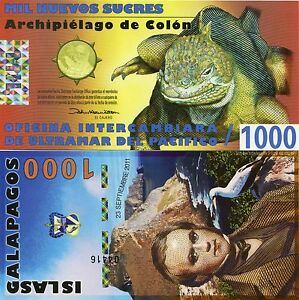 Galapagos Islands 2011 Polymer Fantasy Banknote 1000 Sucres Darwin Hologram