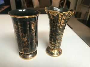 """LOT OF 2 VINTAGE 7 1/2"""" Stangl Pottery BLACK GOLD VASES in EXCELLENT CONDITION"""
