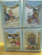 Cherished Teddies -New In Boxes Four Holiday Ornaments Enesco & P. Hillman