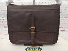 Fossil Slim Messenger Bag Depender DK Brown Leather Satchel Shoulder Bags RP