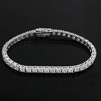 Women's 14K White Gold Over 3-1/2 CT Diamond S-Link Tennis Bracelet, 7 Inches