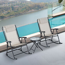 Outsunny 3 Piece Outdoor Rocking Chair Patio Table Seating Set Rocker Bistro
