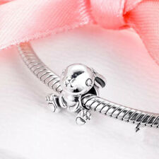 925 Silver Sterling Daisy Rabbit Hare Bunny Charm Bead & POUCH