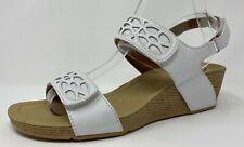 Clarks Bendables Women's WhiteLeather Wedge Heel Hook/loop Sandals 9.5 W EUC