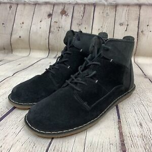 Clarks Ankle Boots Tabitha Key Lace-up Zip Black Suede Leather Womens Sz 9.5