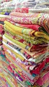 Vintage Reversible Kantha Quilt WHOLESALE LOT OF 10PC Throw Blanket Indian Ralli