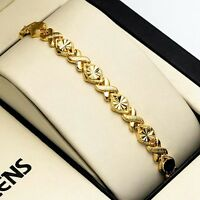 "Women's Bracelet 18K Yellow Gold Filled 7.3"" Chain Lady's Link Fashion Jewelry"