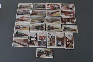 """24 OGDEN'S GUINEA GOLD """"FAMOUS RAILWAY TRAINS"""" CIGARETTE CARDS - CIRCA 1928"""