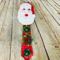 Vtg Plastic Santa Claus Face Christmas Wall swag Hanging Blow Mold retro MC