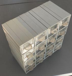 16 x Grey Plastic Stacking Interlocking 5cm Storage Drawers, Tools Nuts Bolts