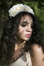 Peach Ivory Blossom Flower Hair Crown Headband Festival Boho Silver Garland V30