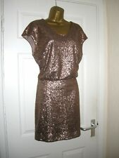 16 ANTIQUE GOLD SEQUIN PLUNGE BACK MINI DRESS RETRO 70'S SPARKLE PARTY