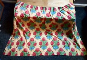 Pair Vintage Fully  Lined Pencil Pleat Dahlia Floral Curtains  W45 L:49