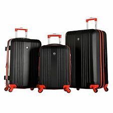 Olympia Apache II 3-piece Hardside Spinner Luggage Set-Black/Red color