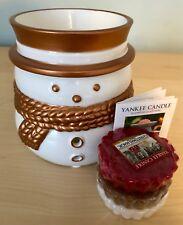 Official Yankee Candle Snowman Christmas Wax Tart Burner & 3 Wax Tarts Brand New