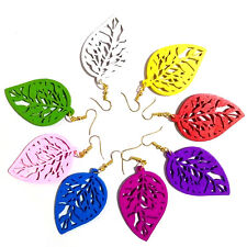 Wooden Leaves Earrings -Different Colours Available- Drop Dangle Jewellery Gift