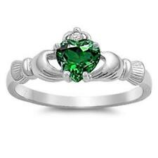 Simulated Emerald Silver Plated Fashion Rings