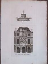 GRAVURE 1839 PARIS FACADE BUREAU DES MARCHANDS DRAPIERS EGLISE STE OPPORTUNE