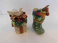 Fitz & Floyd GREGORIAN Horse Stocking Salt & Dove Gift Pepper Shaker Set