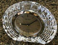 Seiko Clock Quartz Clear Cut Lead Crystal Japan Table Top Mantel Model QQZ003S